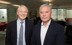 Phil Goff and John Tamihere after the Morning Report Auckland mayoral debate.