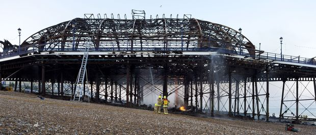 The fire-damaged Eastbourne Pier, in England.