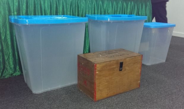 Fiji's new ballot boxes with old box in foreground