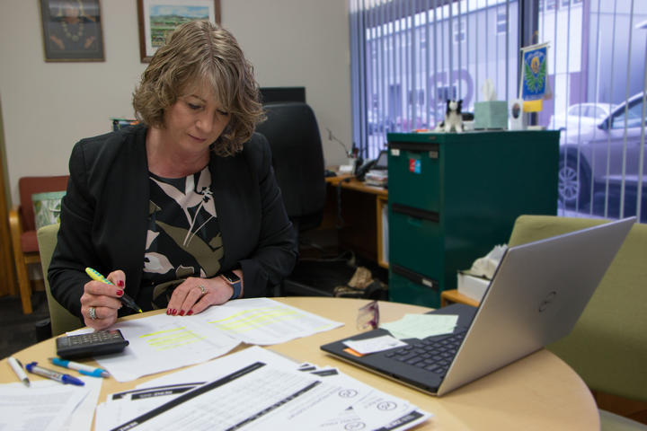 Tararua district mayor Tracey Collis pores over farm sales data in her Dannevirke office