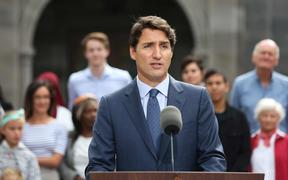 Canada's Prime Minister Justin Trudeau speaks during a news conference at Rideau Hall in Ottawa.