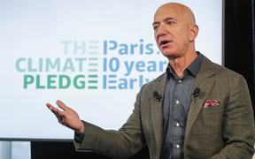 WASHINGTON, DC - SEPTEMBER 19: Amazon CEO Jeff Bezos announces the co-founding of The Climate Pledge at the National Press Club on September 19, 2019 in Washington, DC.