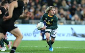 Faf de Klerk of South Africa during the Rugby Championship match between the New Zealand All Blacks & South Africa at Westpac Stadium, Wellington on Saturday 27th July 2019.
