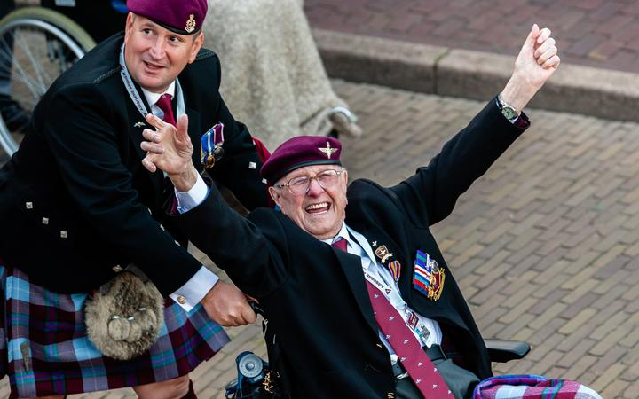 A WWII happy veteran is seen arriving to the 75th anniversary of the Battle of Arnhem ceremony, in Arnhem on September 20th, 2019.