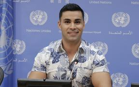 Pita Taufatofua, Olympic athlete from Tonga, at the UN Headquarters in New York City.