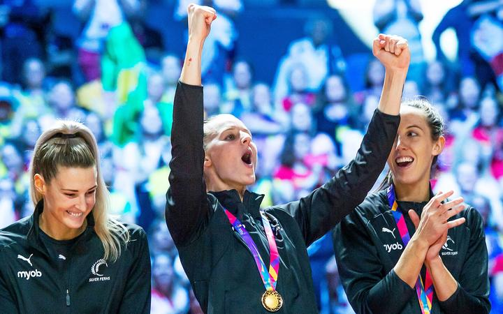 Silver Ferns celebrate their World Cup win over Australia