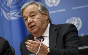 UN Secretary-General Antonio Guterres speaks at a news conference at UN headquarters on September 18, 2019 in New York City.