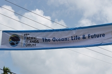 A banner declaring the Pacific Islands Forum in Palau