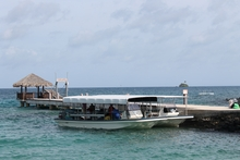 A tourist boat at a wharf in Palau