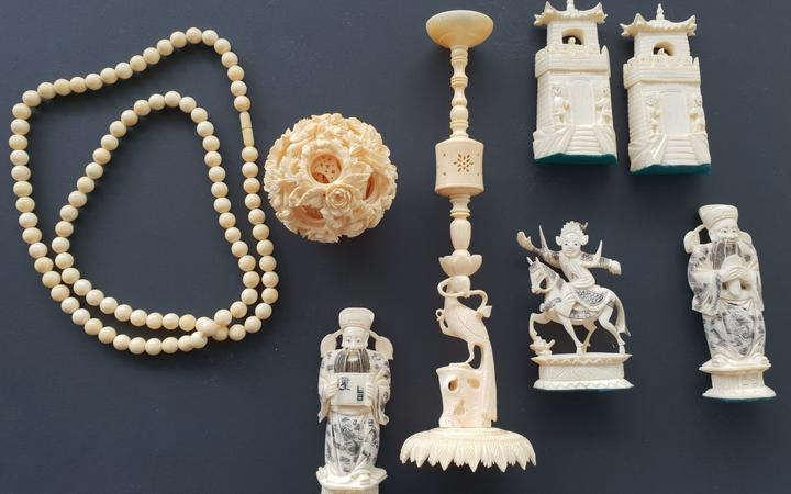 Ivory objects seized at border by Convention on International Trade of Endangered Species of Wild Fauna and Flora (CITES) officers.