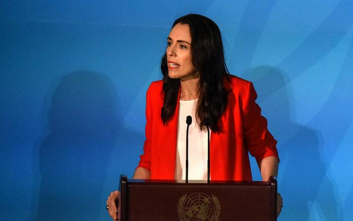 PM Jacinda Ardern speaks at the Climate Action Summit at the United Nations on September 23, 2019 in New York City.
