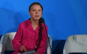 Greta Thunberg speaks during the UN Climate Action Summit on September 23, 2019 at the United Nations Headquarters in New York City.