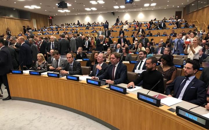 The Christchurch Call meeting at the UN in New York.