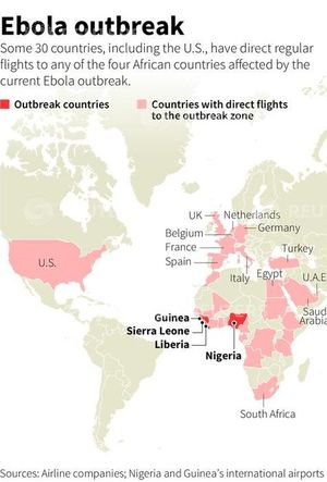 World map showing countries which have direct flights to any of the African countries affected by the Ebola outbreak.