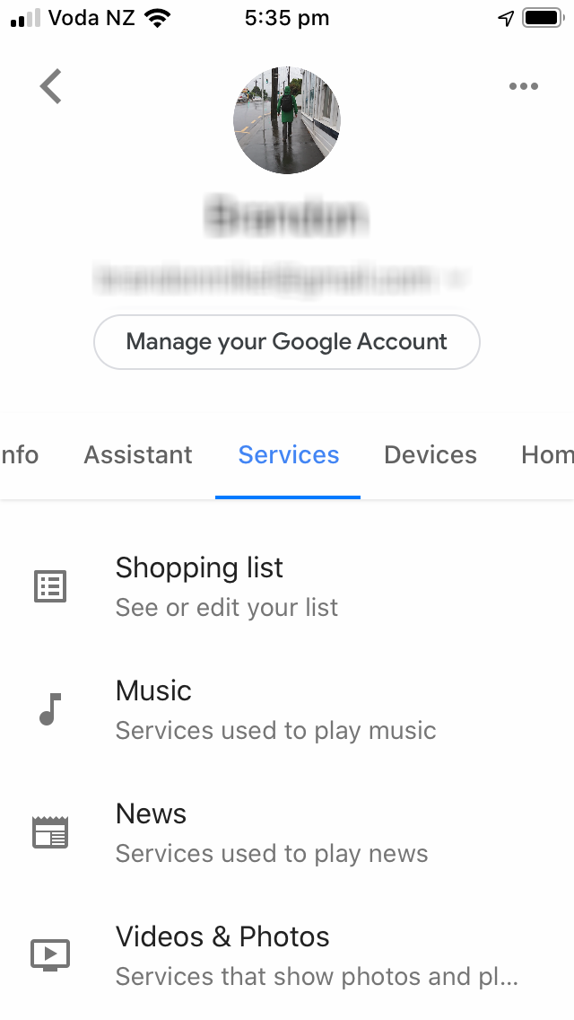The home page of the Google Assistant app with the Services tab selected.