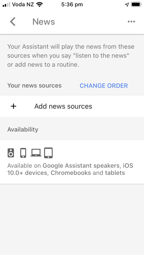 A view on the Google Assistant app when selecting News from the Services tab.
