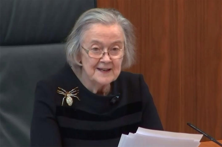 President of the Supreme Court Brenda Hale, Baroness Hale of Richmond, reading the court's judgement (screengrab provided by the Supreme Court).