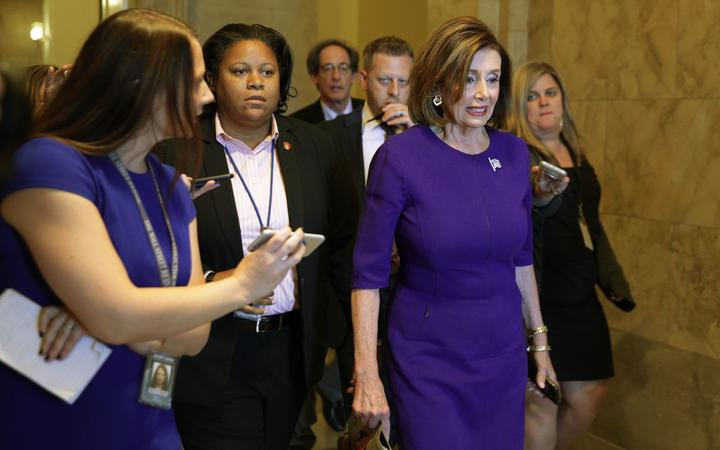 US Speaker of the House Rep. Nancy Pelosi leaves her office in Washington, DC. Speaker Pelosi said that she will make an announcement after meeting with House Democratic leaders as more Democrats have come out to urge for steps toward impeaching President Donald Trump.