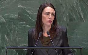 Prime Minister Jacinda Ardern addresses the UN General Assembly.