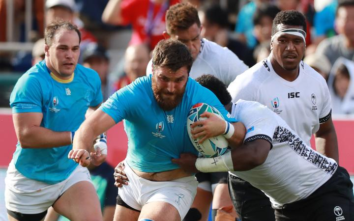 Uruguay's Santiago Civetta in action during the team's upset win over Fiji at the Rugby World Cup.