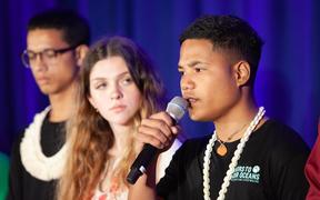 On 23 September 2019, at UNICEF House in New York, Ranton Anjain, 17, from Ebeye, Marshall Islands, speaks at a press conference.