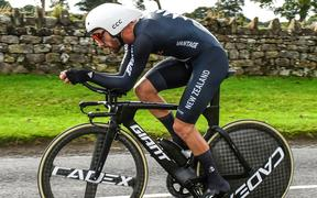 NZ cyclist Patrick Bevin on his way to fourth in the time trial at the 2019 World Road Championships.