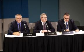 Fonterra CFO Mark Rivers, chair John Monaghan and chief executive Miles Hurrell.