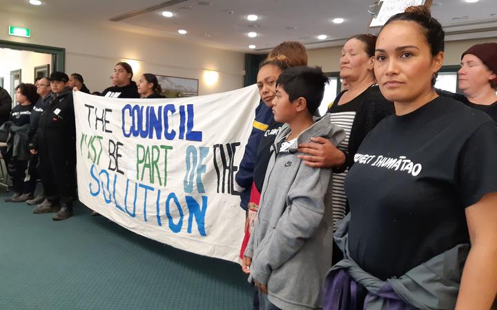 SOUL protesters at the last Auckland Council meeting of the term.