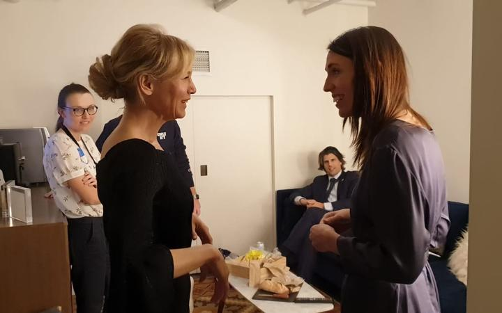 Jacinda Ardern meets Renee Zellweger in the green room before her appearance on The Late Show with Stephen Colbert.