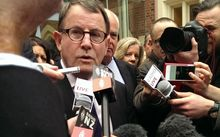 John Banks after his sentencing in the High Court at Auckland.