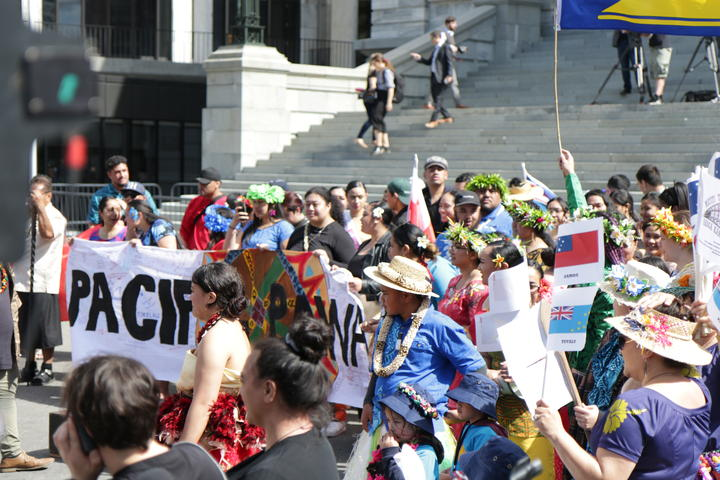 Pacific people marching at the Climate Strike in Wellington