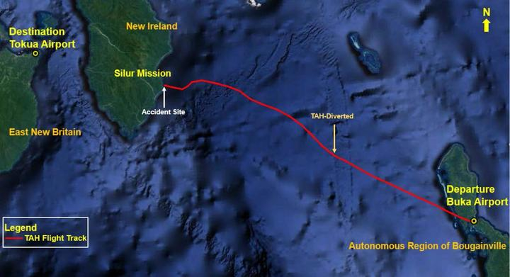 The path of the helicopter that crashed in New Ireland