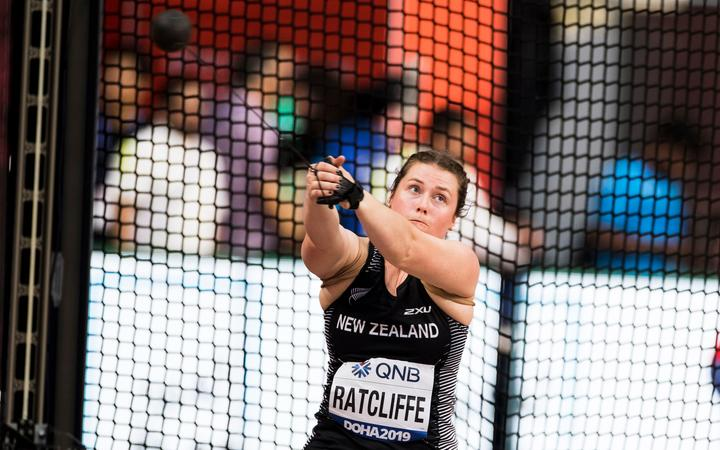 Julia Ratcliffe in action at women's hammer throw qualification at the 2019 World Athletics Championships in Doha.