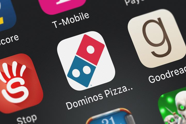 Close-up shot of Domino's Pizza's popular app.
