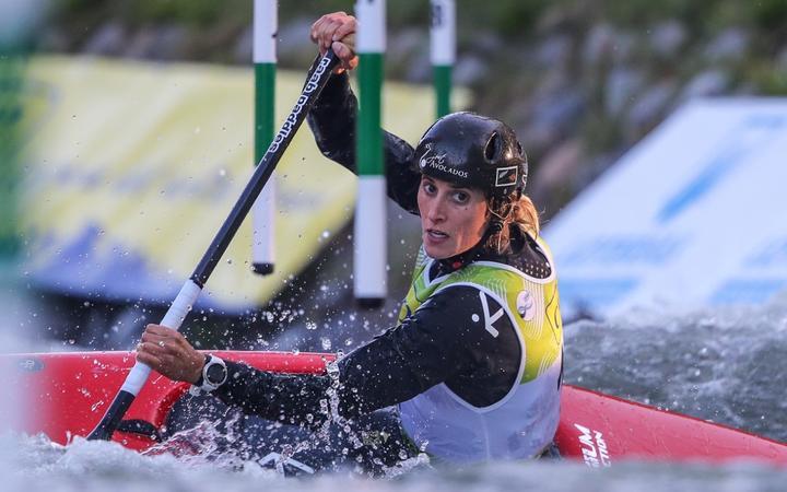 Luuka Jones competing in the canoe slalom world champs in Spain.