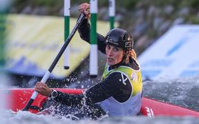 Luuka Jones competing in the canoe slalom world champs in Spain.