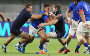 Samoa fullback Tim Nanai-Williams tries to make a line-break during the first half of Scotland v Samoa, Rugby World Cup 2019 at Kobe MIsaki Stadium, Hyogo, Japan. 30th September 2019. Copyright Image: Kenji Demura / www.photosport.nz