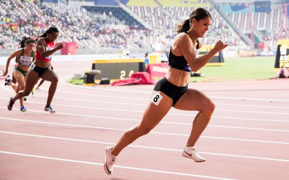Zoe Hobbs in action in the heats of the women's 200m at the 2019 World Athletics Championships.