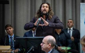 Aquaman actor Jason Momoa speaking at the UN.