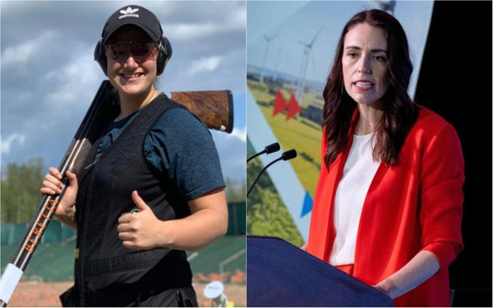 Olympic and Commonwealth shooter Chloe Tipple and Prime Minister Jacinda Ardern.