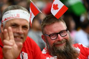 Canada supporters pose   prior to the  Japan 2019 Rugby World Cup Pool B match between Italy and Canada at the Fukuoka Hakatanomori Stadium in Fukuoka on September 26, 2019.