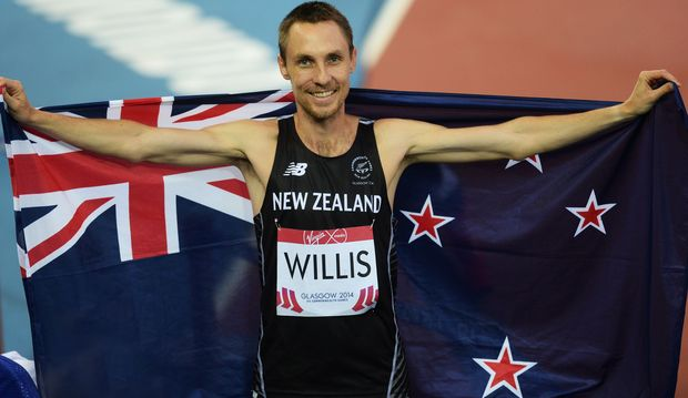 Nick Willis celebrates winning a bronze medal in the 1500m men's final. 