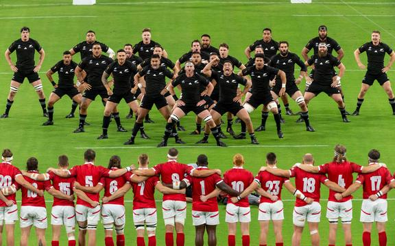 All Blacks perform the Haka before game against Canada.