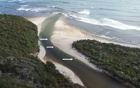 Approximate location of the whitebait nets at the mouth of the Waitutu River.
