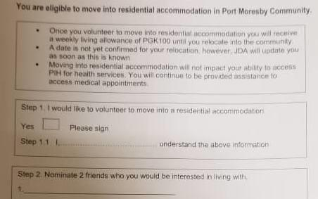Part of the voluntary location form.