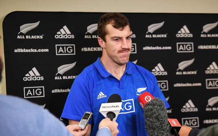 All Black lock Brodie Retallick during a media session.