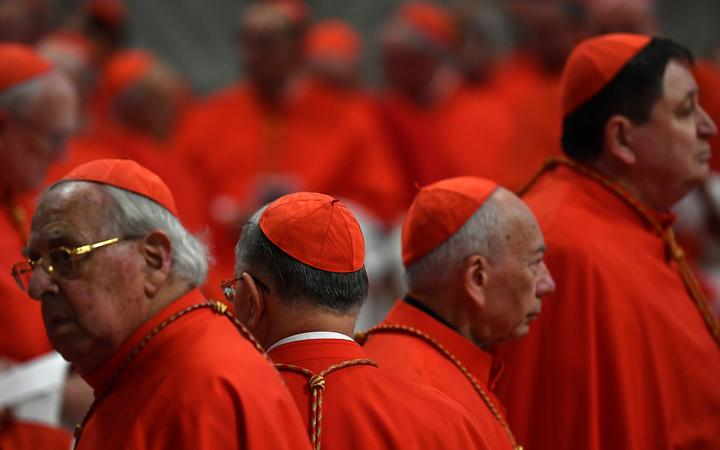 Cardinals attend a Pope's Ordinary Public Consistory for the creation of new cardinals, for the imposition of the biretta, the consignment of the ring and the assignment of the Title or Diaconate, on October 5, 2019 at St. Peter's Basilica in the Vatican.