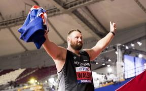 Tom Walsh wins bronze and breaks the area record at the World Athletics Championships.  Khalifa International Stadium, Doha, Qatar.