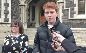 Speaking to media after death of student at Dunedin party