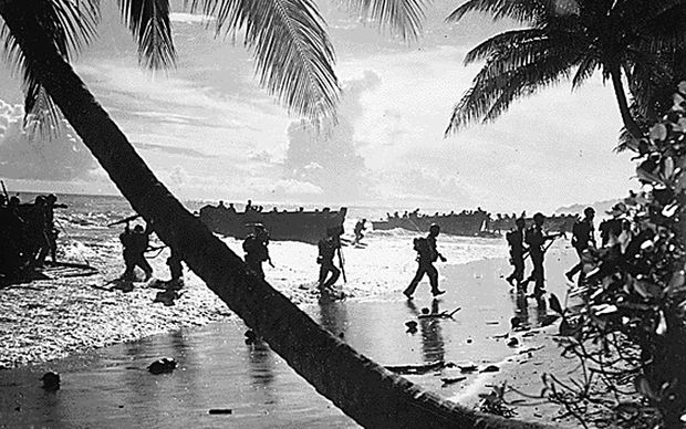 American troops land in Solomon Islands in World War II.